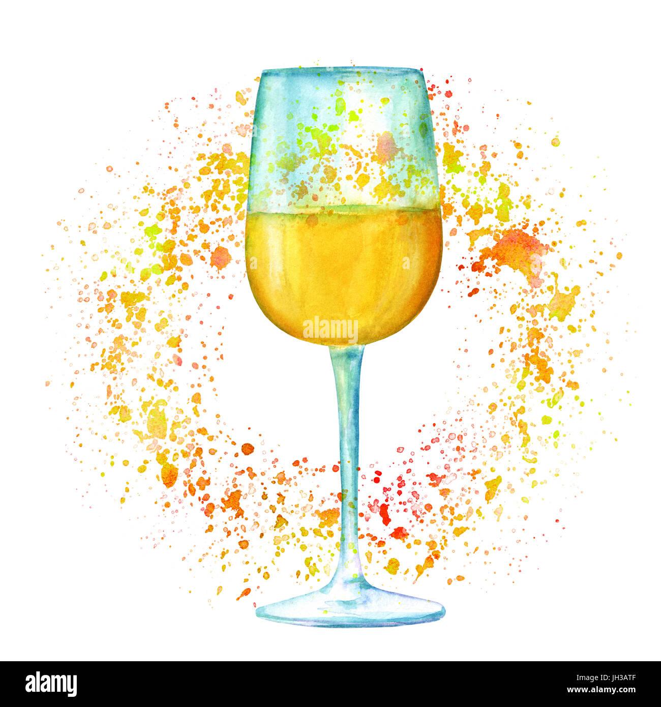 Une aquarelle dessin d 39 un verre de vin blanc peintes la - Dessin de verre ...