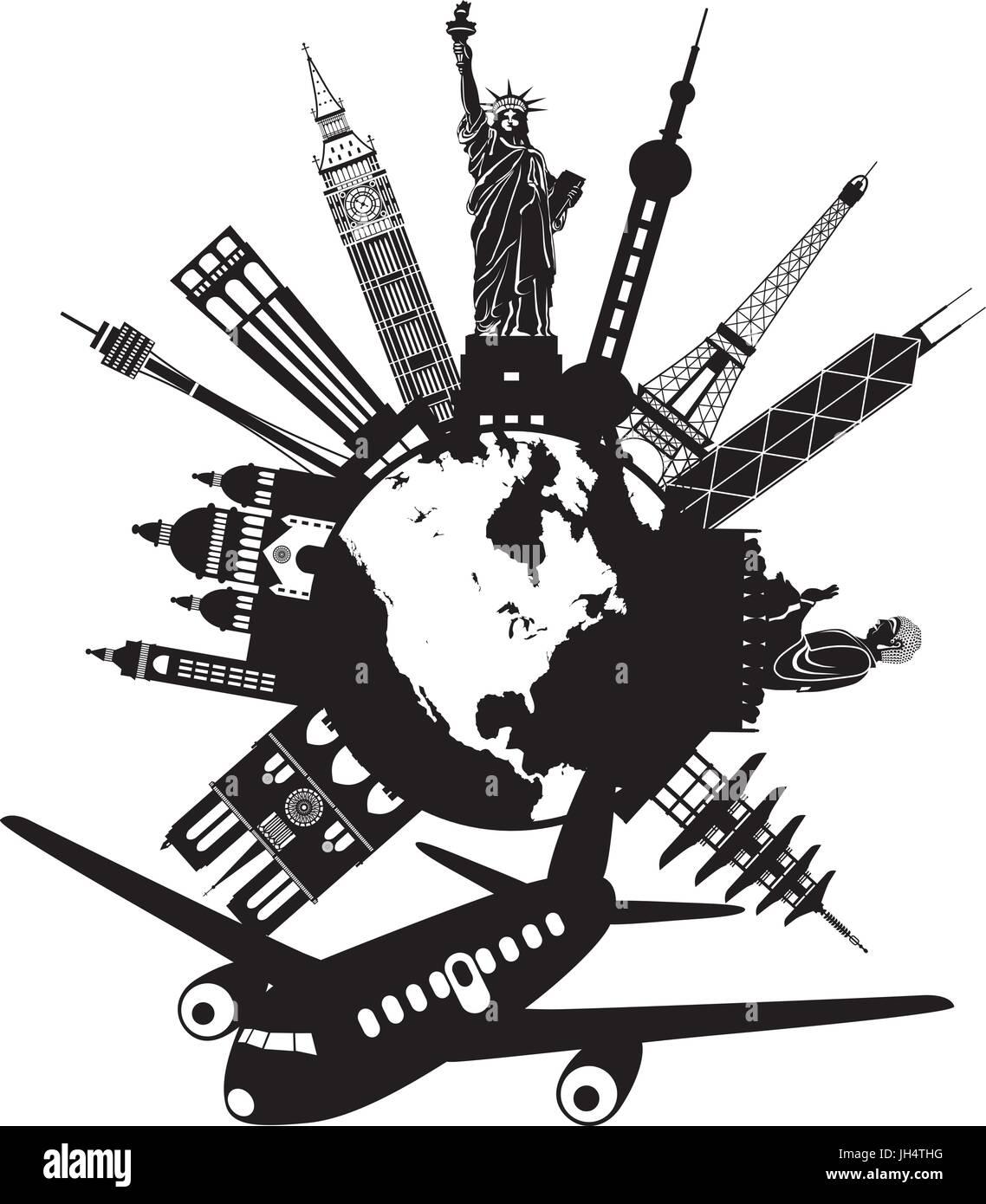Voyage autour du monde en avion avec les repères dglobe rond illustration noir et
