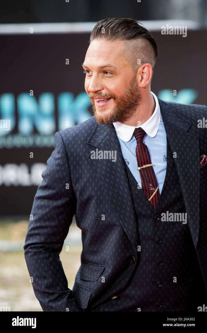 Londres, Royaume-Uni. 13 juillet 2017. Acteur Tom Hardy arrive pour la première mondiale de la Christopher Photo Stock