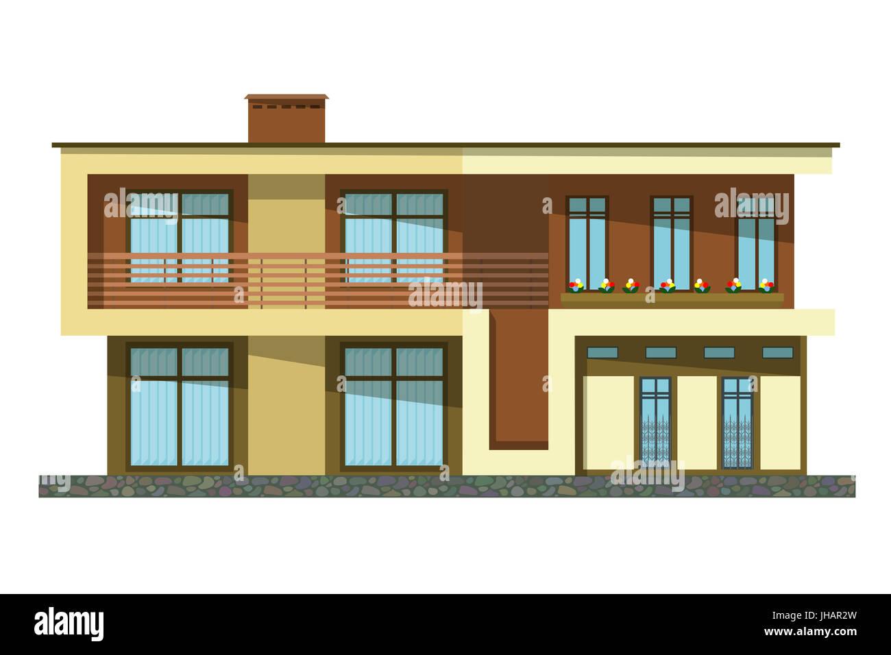 Construction Maison En Pente style plat. cartoon bâtiment. bâtiment moderne de deux
