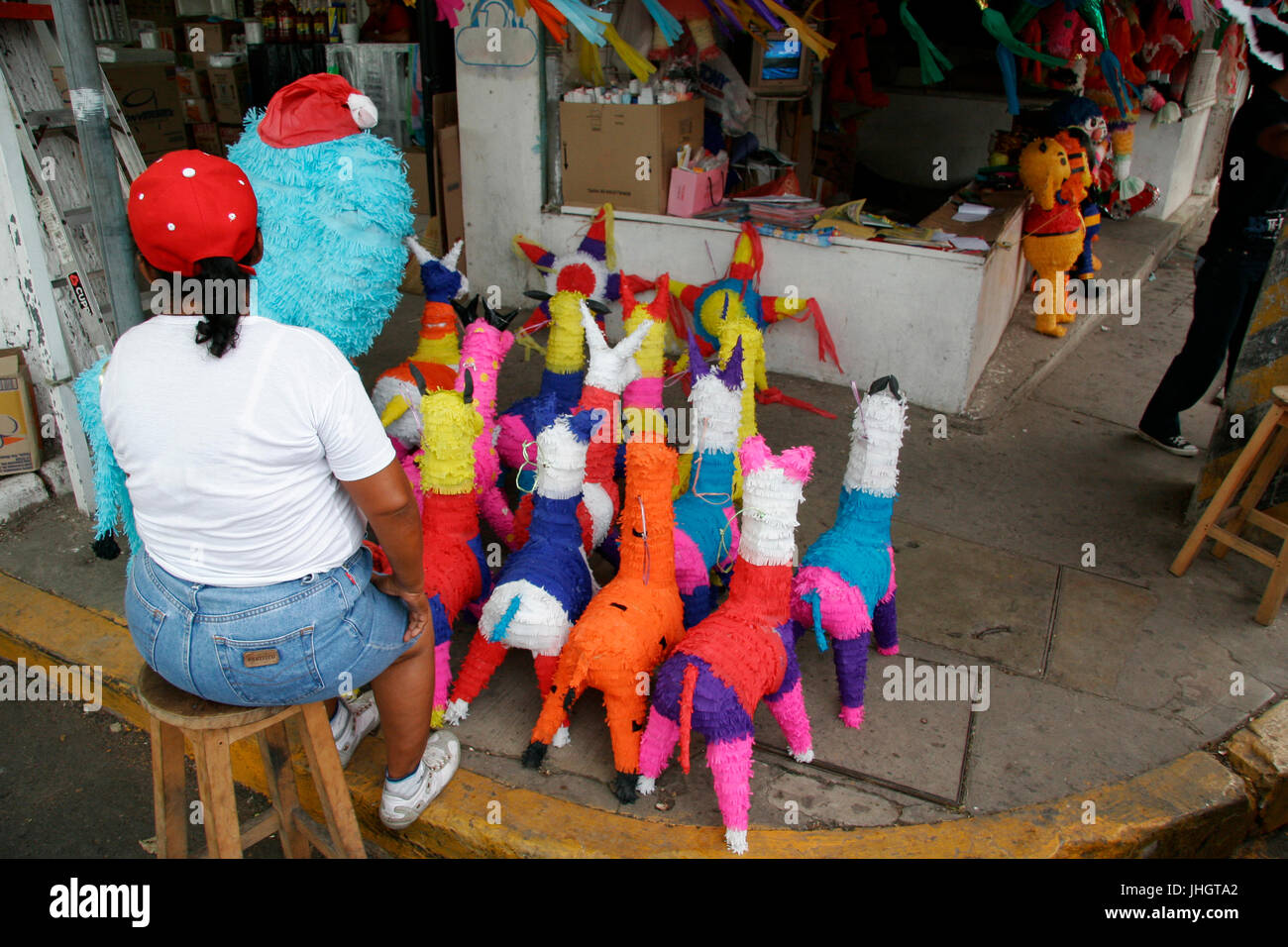 Piñatas mexicaines dans une rue de Villahermosa traditions, célébrations, Villahermosa, Tabasco, Photo Stock