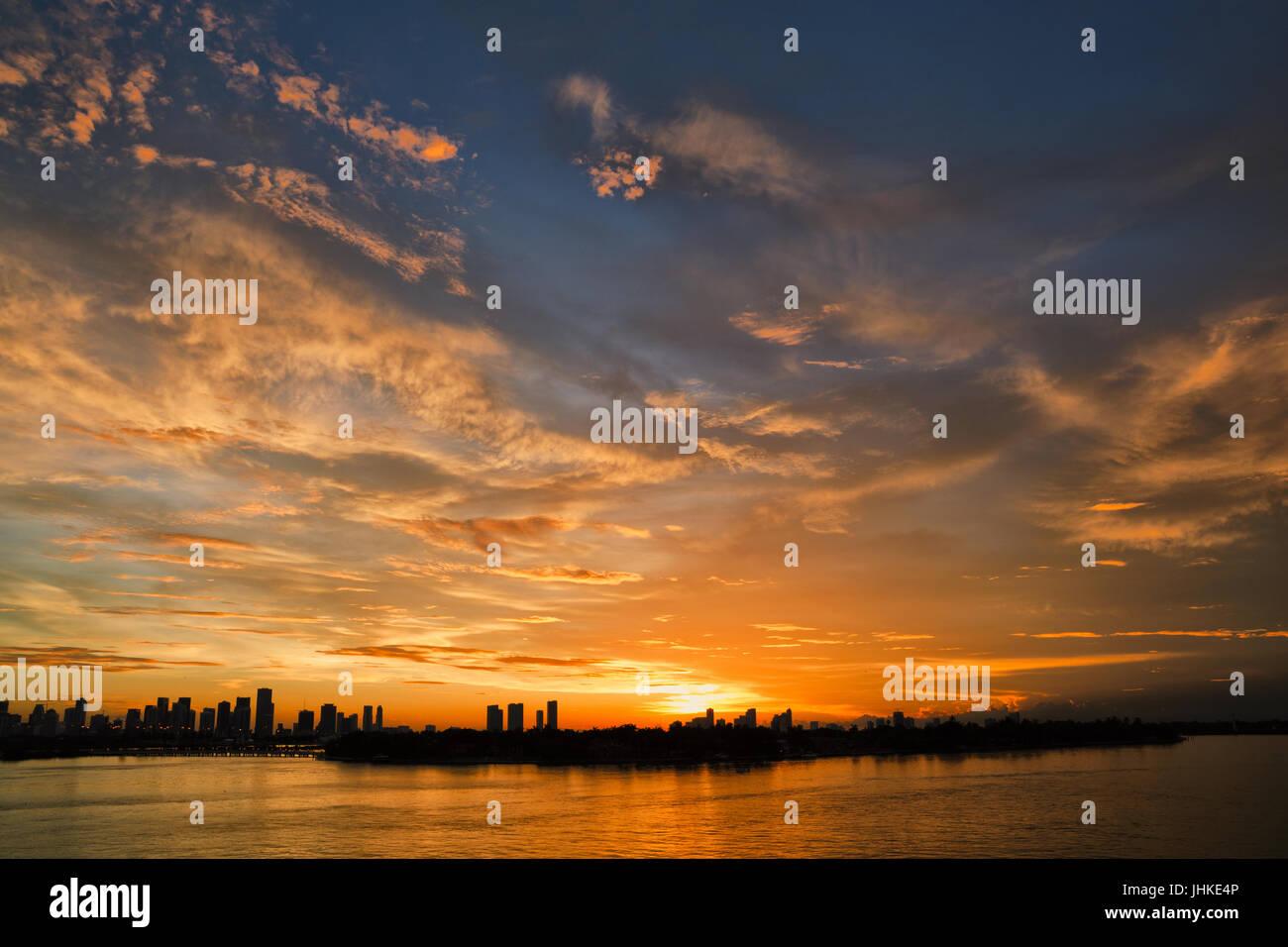 L'heure du coucher du soleil à Miami Photo Stock