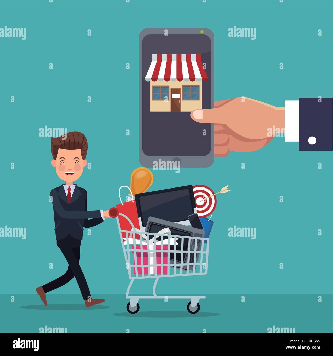 Arrière-plan de couleur homme exécutif avec panier d'un smartphone pour les achats en ligne Photo Stock