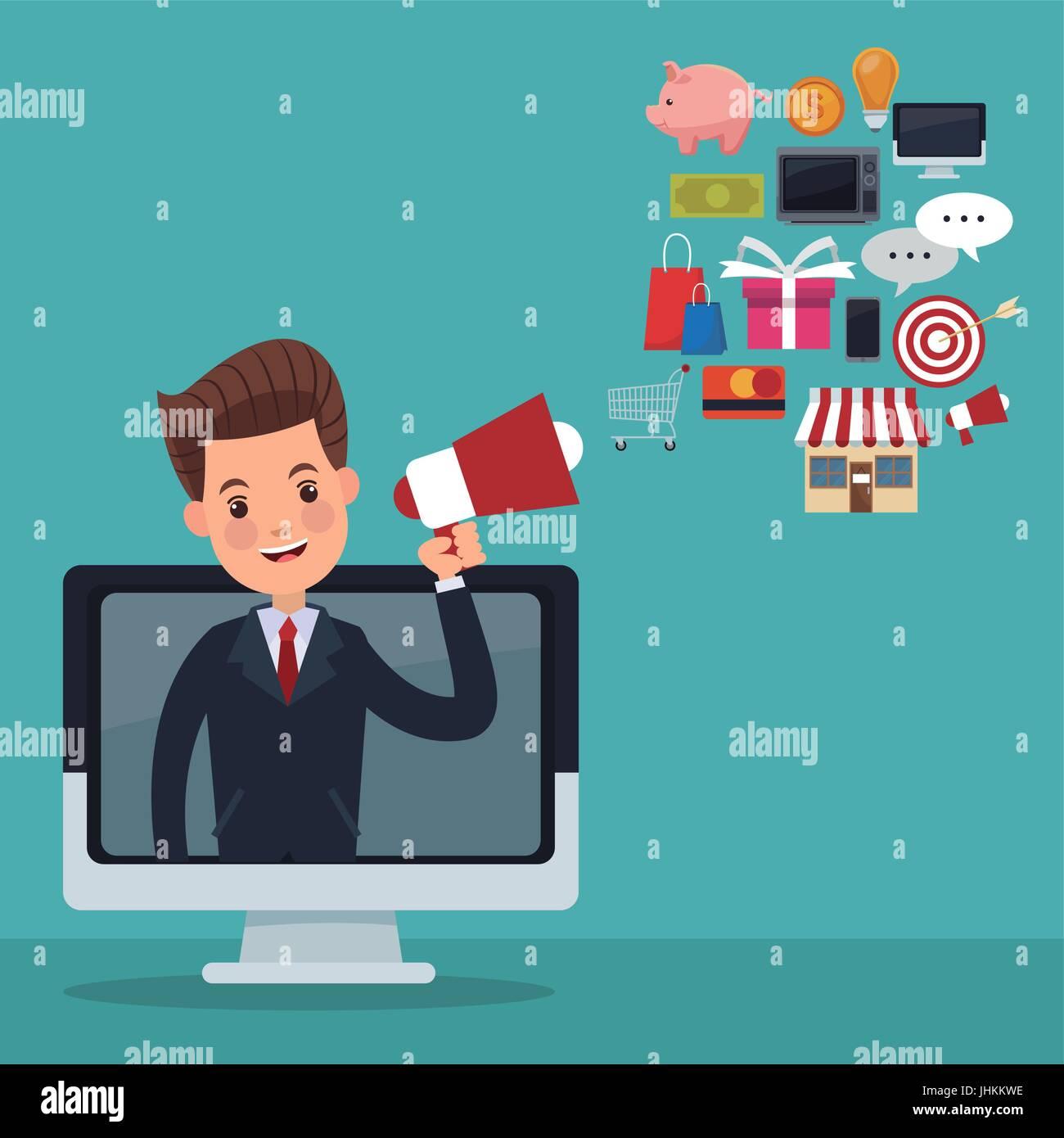 Arrière-plan de couleur sur l'écran de direction avec mégaphone avec articles en ligne flottante Photo Stock