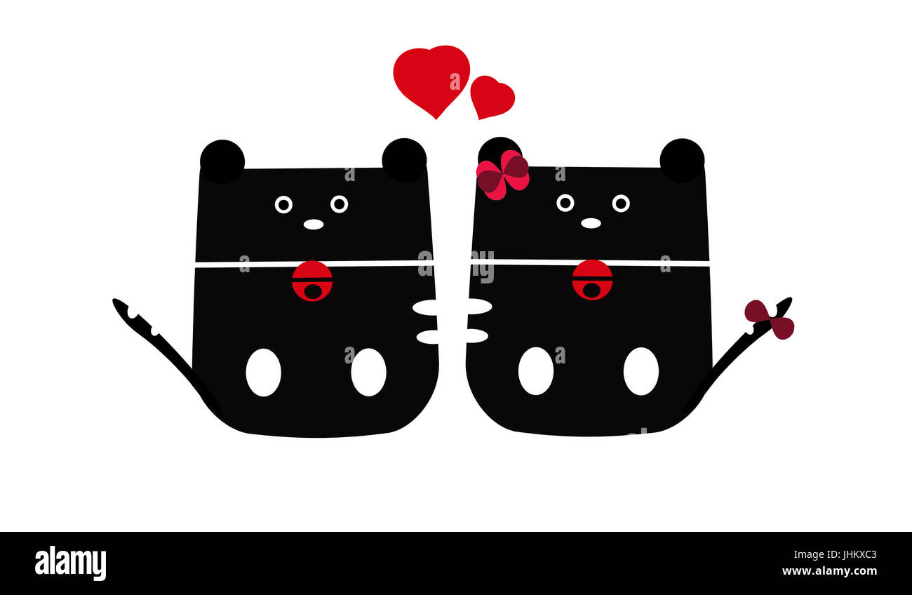 Cat clipart,de couple de chat assis Banque D'Images