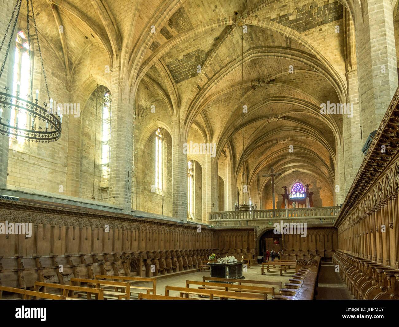 Tombeau du pape Clément VI à l'intérieur de l'abbaye de La Chaise Dieu, la Haute Loire, Auvergne, France Banque D'Images
