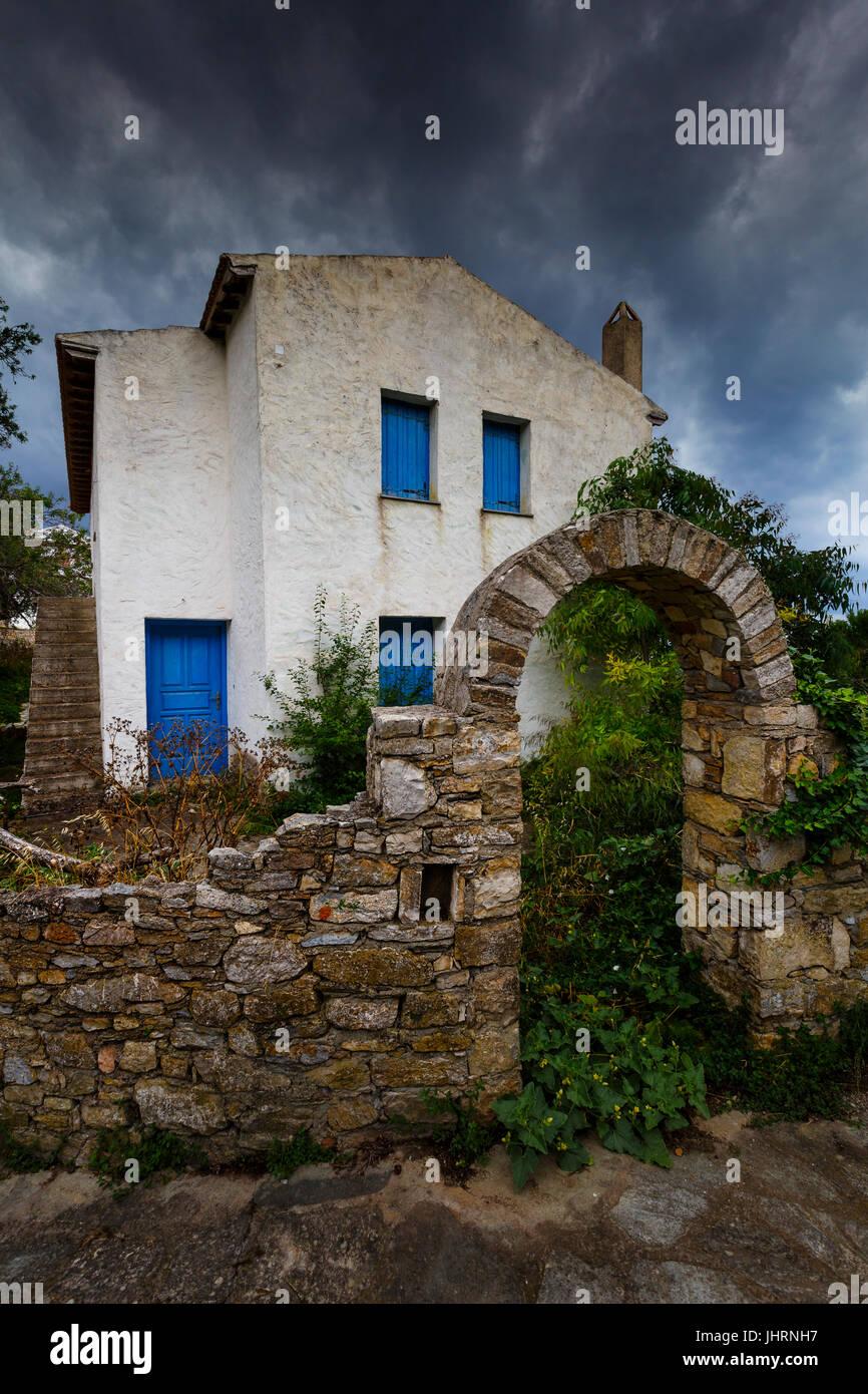 Vieille maison à Chora d'Alonissos island, Grèce. Photo Stock