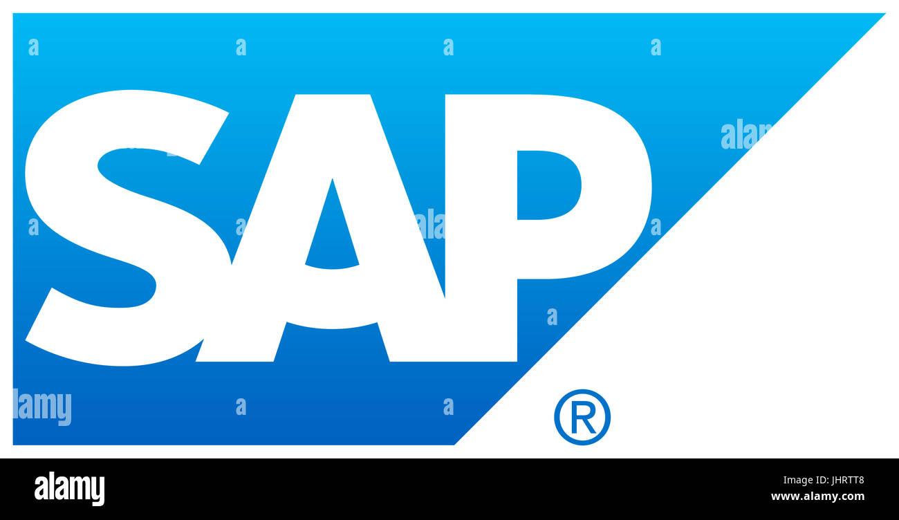SAP, l'éditeur de logiciel allemand, le logo de la société, le DAX 30 entreprises Photo Stock