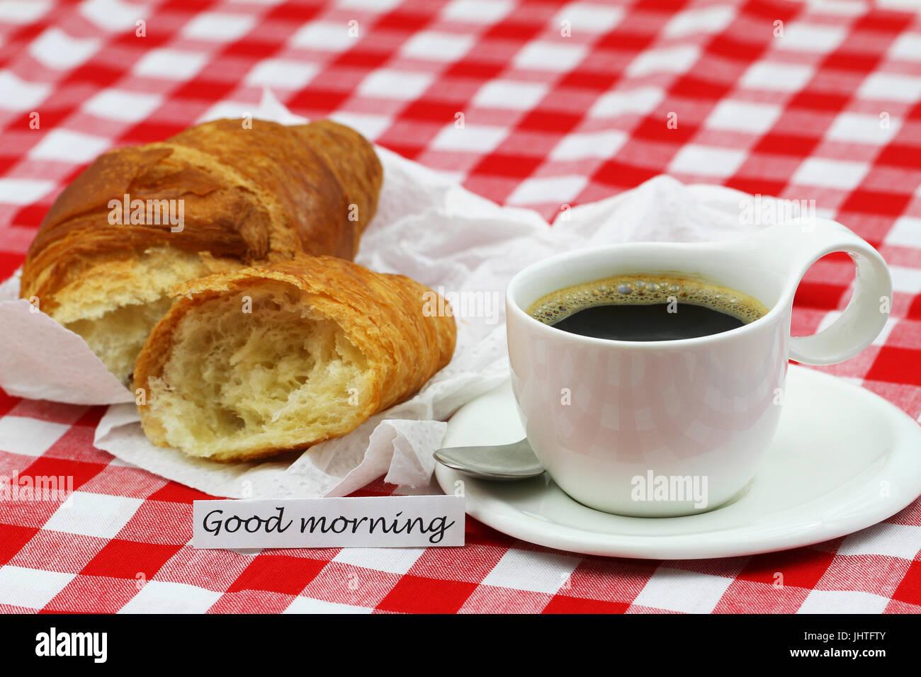 Bonjour Carte Avec Tasse De Café Et Un Croissant Français