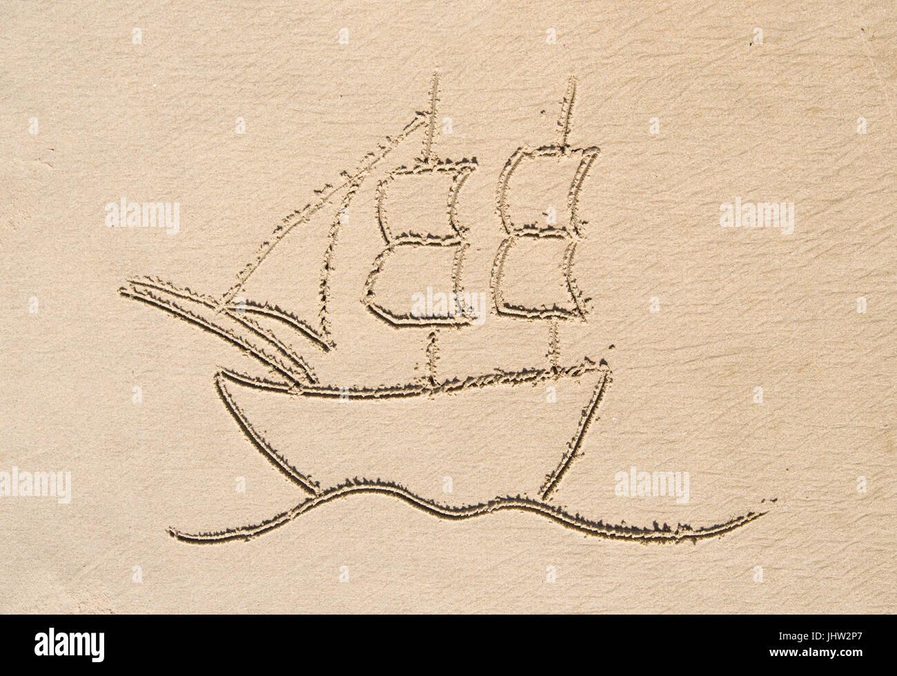 Simple Dessin Dans Le Sable Sur La Plage De Voilier Bateau Photo Stock Alamy