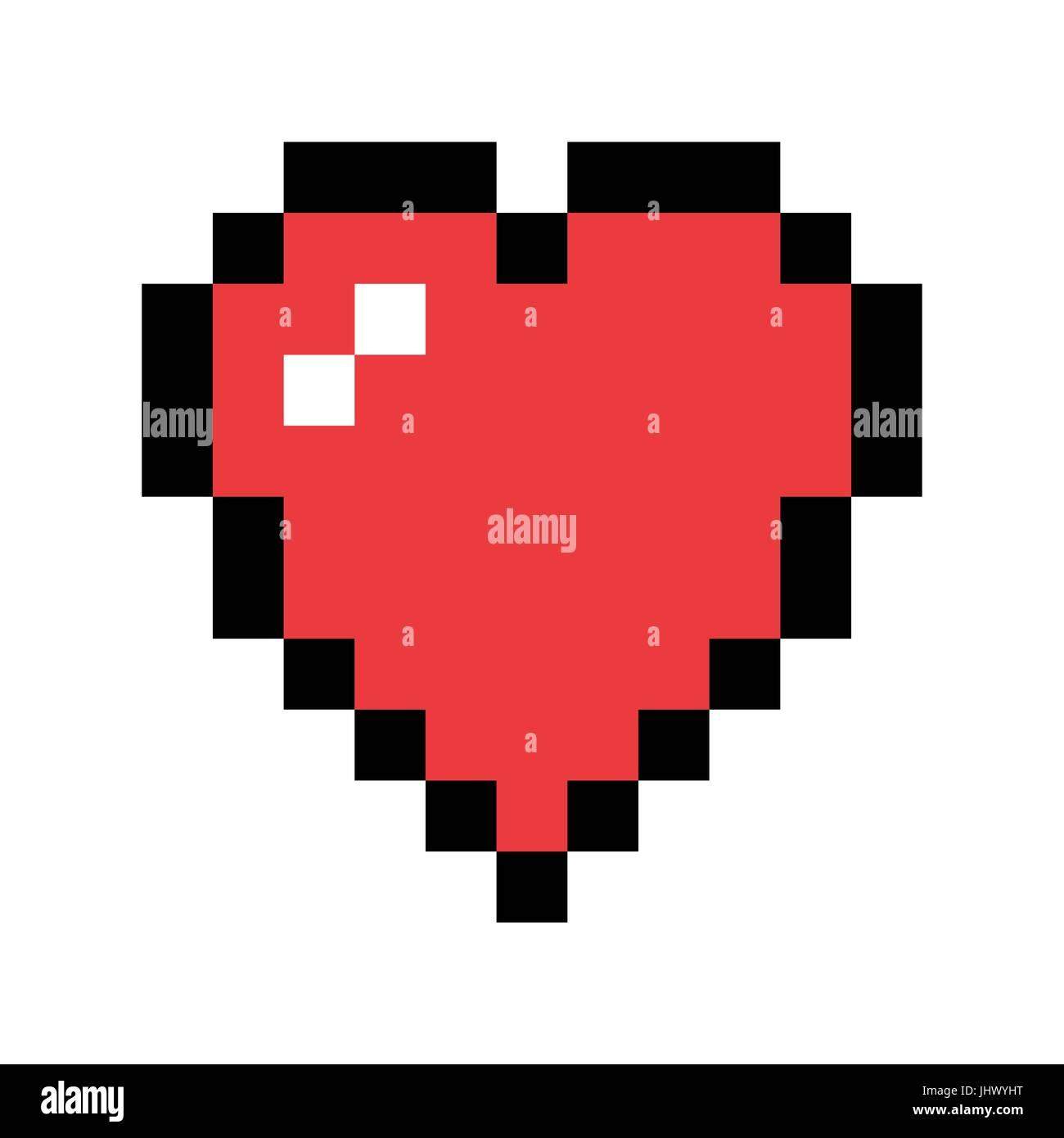 Pixel Art Cœur Rouge Lamour Et Symbole De La Saint
