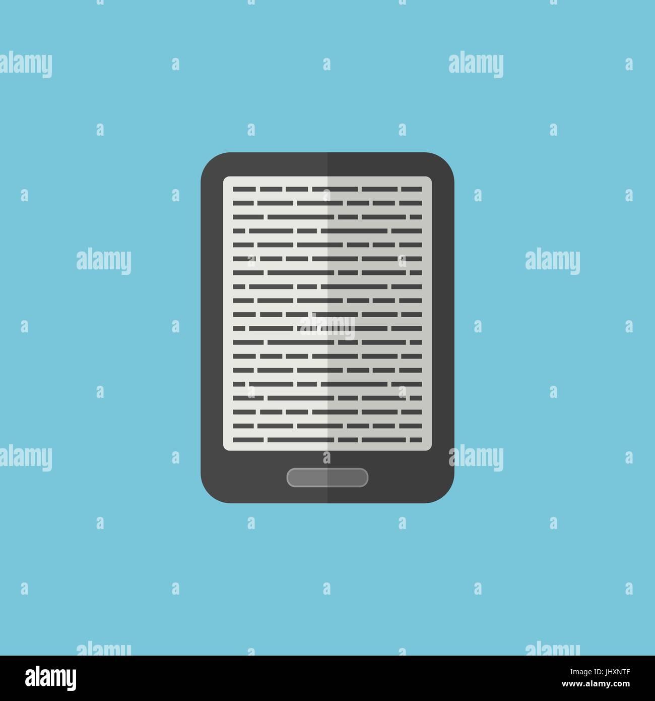 E-Book Reader située dans le style plate Photo Stock