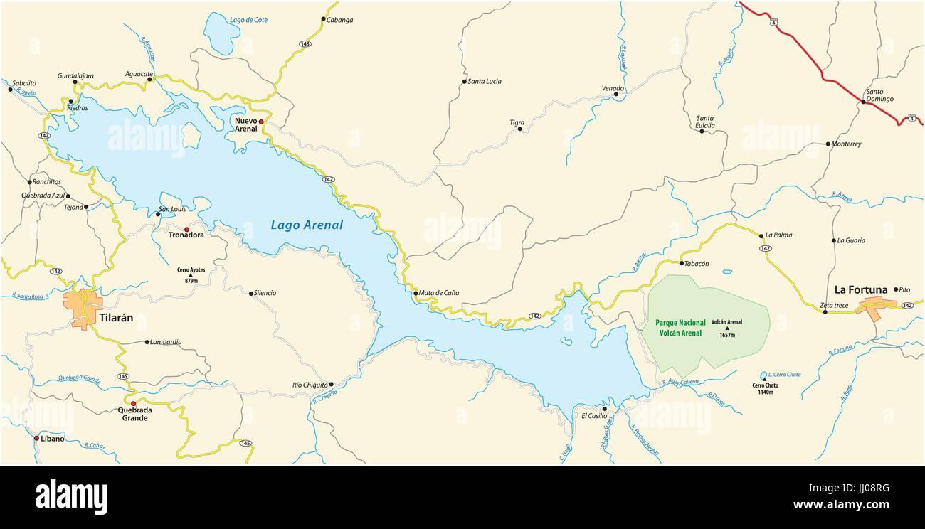 Plan de l'environnement du Costa Rica, Lac Arenal Photo Stock