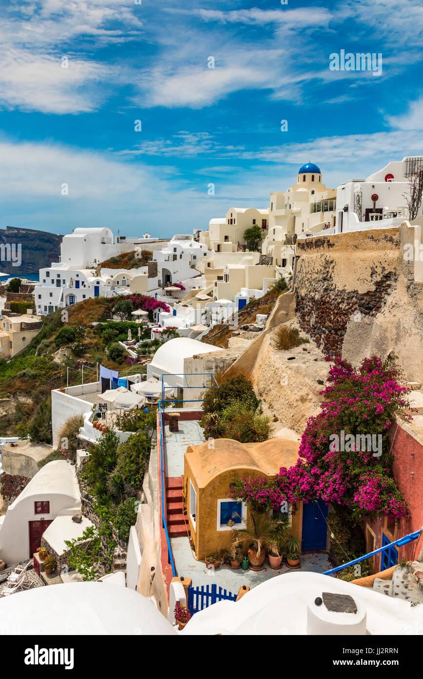 Oia, Santorin, sud de la mer Egée, Grèce Photo Stock