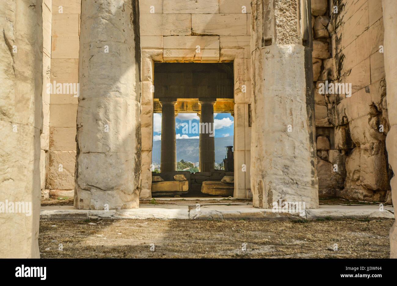 Le Temple d'Héphaïstos dans l'ancienne ville d'Athènes, Grèce Photo Stock