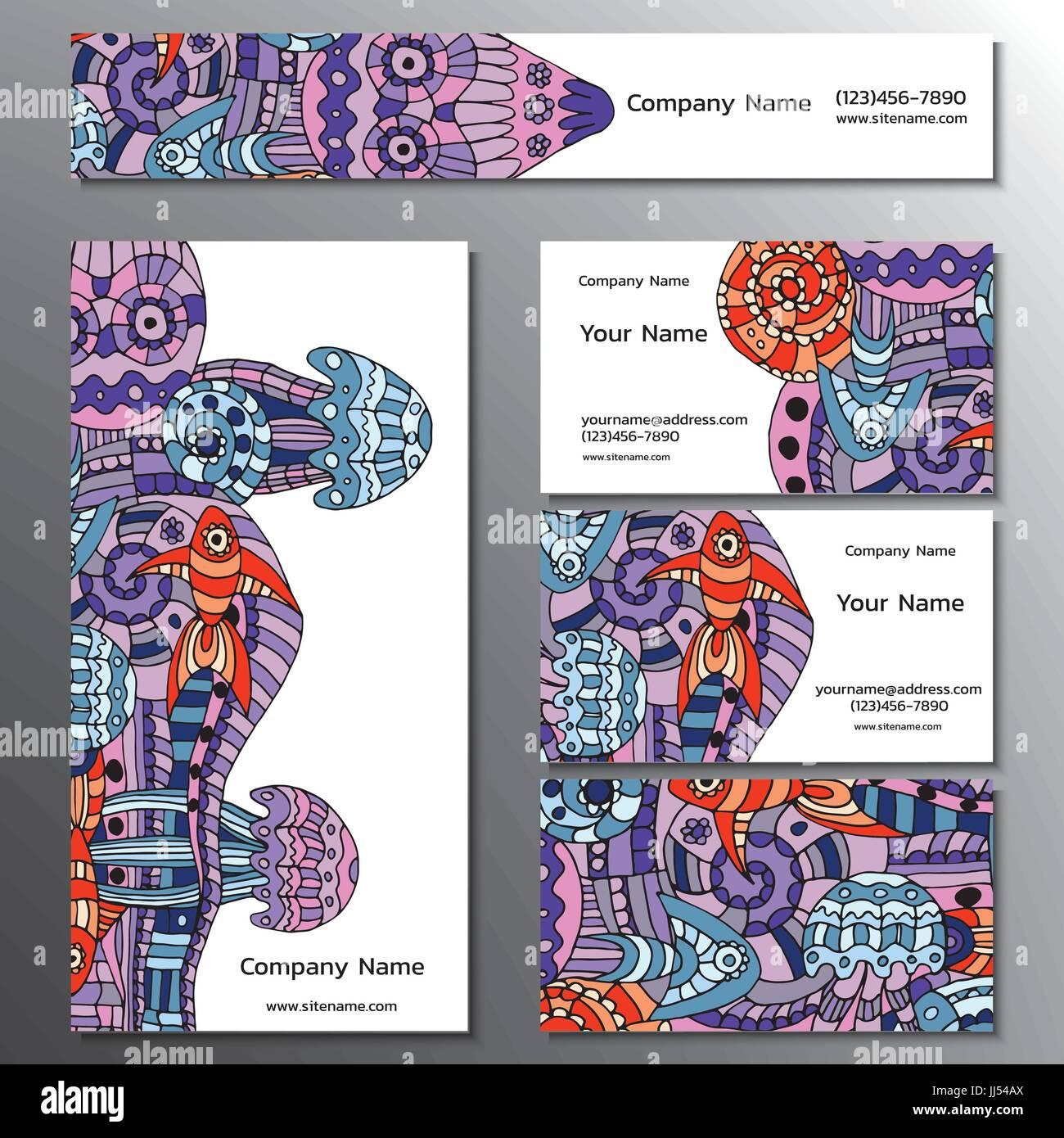 Vector Illustration Dun Livre De Marque Cartes Visite Flyers Et