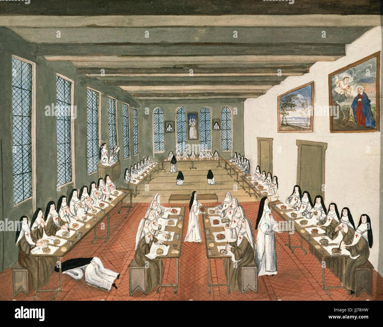 Abbaye de Port-Royal des Champs. Monastère cistercien féminin du jansénisme diffuseur. Le réfectoire. La peinture Banque D'Images