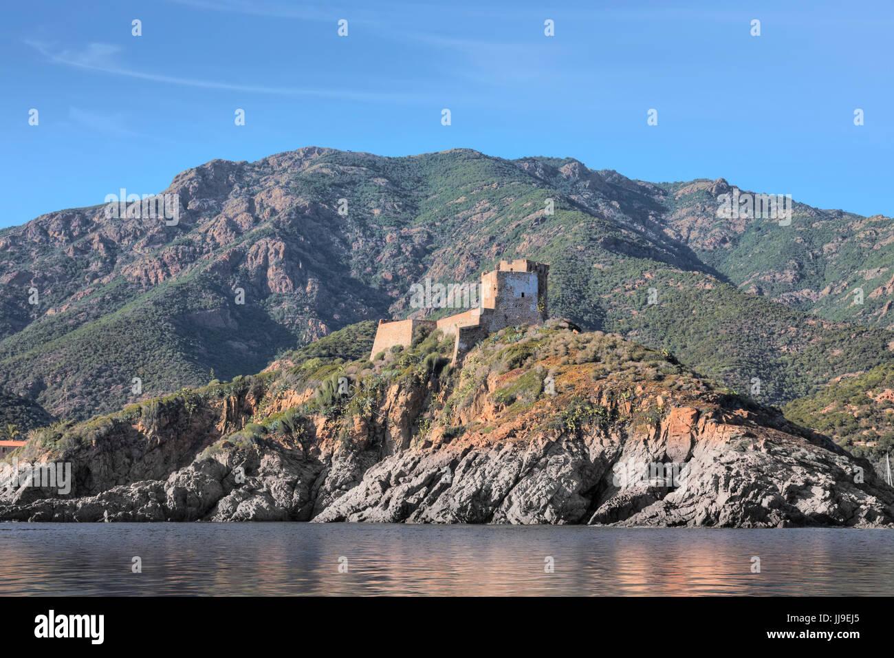La tour de Girolata, Scandola, réserve naturelle, Porto, Corse, France Photo Stock