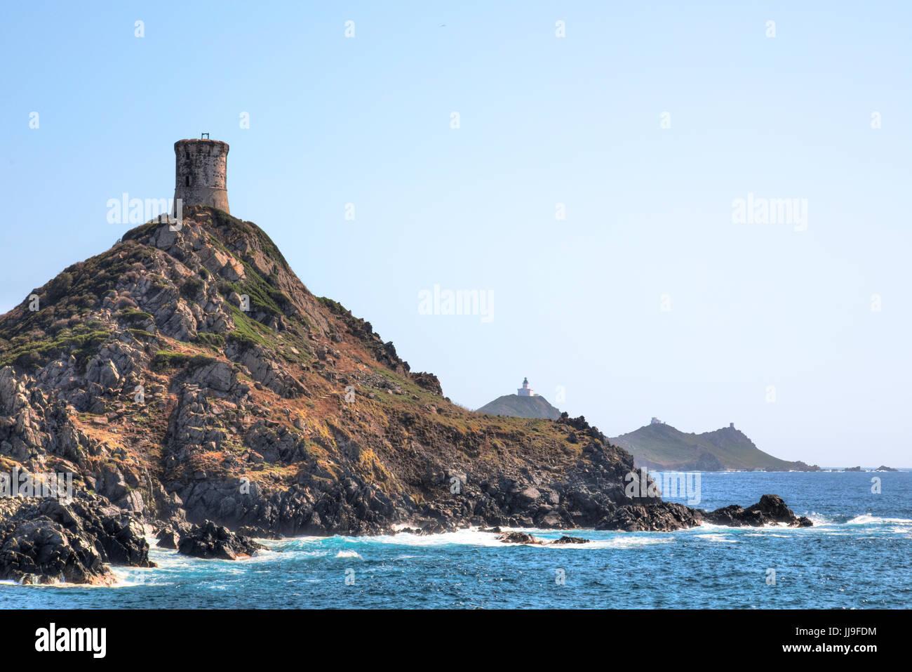 Pointe de la Parata, Sanguinaires, Ajaccio, Corse, France Photo Stock