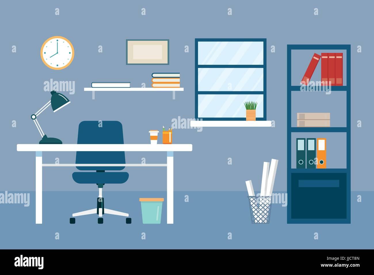 Travail de bureau et de l'équipement modèle plat Illustration de Vecteur