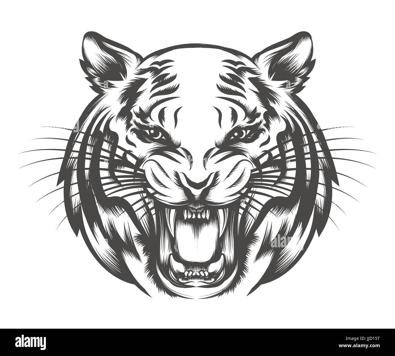 Tete De Tigre Rugissant Dessine Dans Le Style De Tatouage Isole Sur