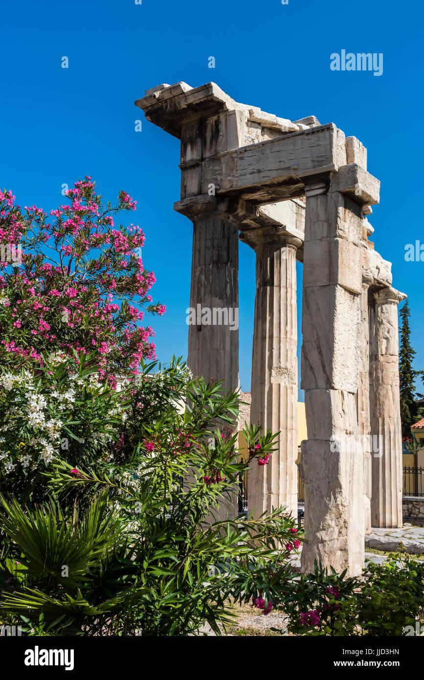 Gate d'Athéna Archegetis, Agora romaine, Athènes, Attique, Grèce Photo Stock