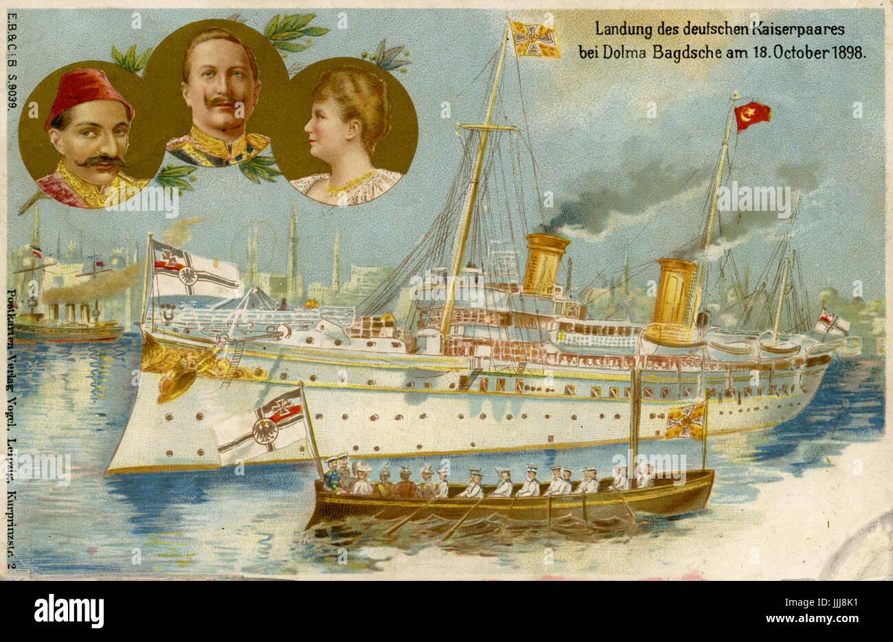 Kaiser Wilhelm Visite En Terre Sainte Palestine 1898 Carte Postale Commemorative Larrivee A Istanbul De Dolmabahce Portraits Du Sultan Abdul Hamid