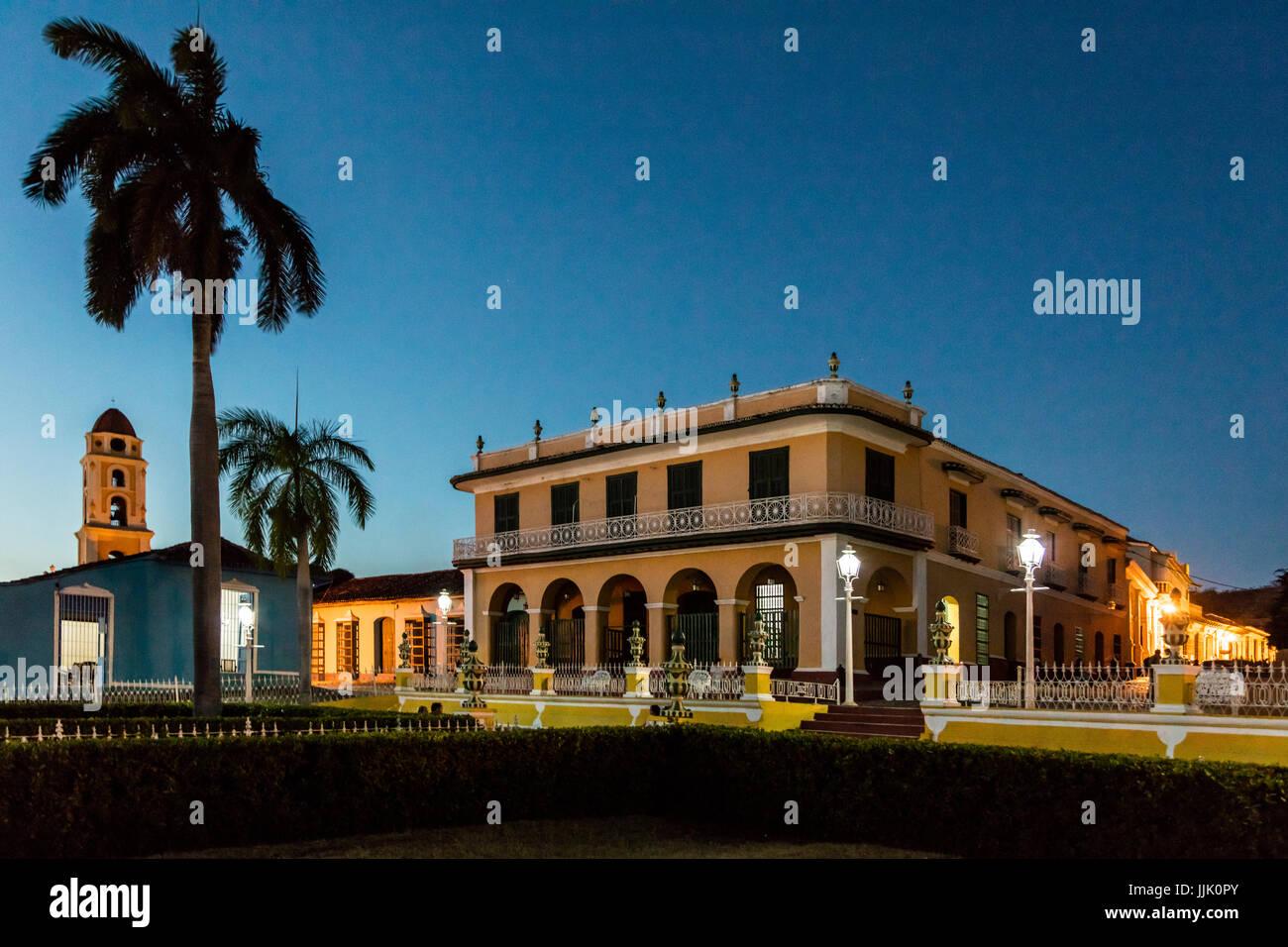 Le MUSEO ROMANTICO est installé dans l'ancien Palacio Brunet sur la Plaza Mayor - Trinidad, Cuba Photo Stock