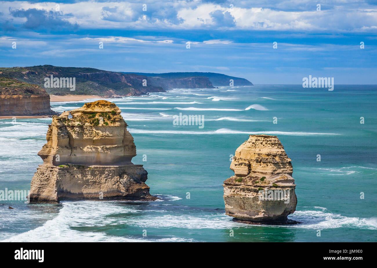 L'Australie, Victoria, Port Campbell National Park, Great Ocean Road, les Douze Apôtres Photo Stock