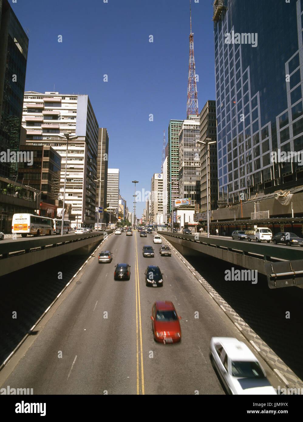 L'Avenue Paulista, Sao Paulo, Brésil Banque D'Images