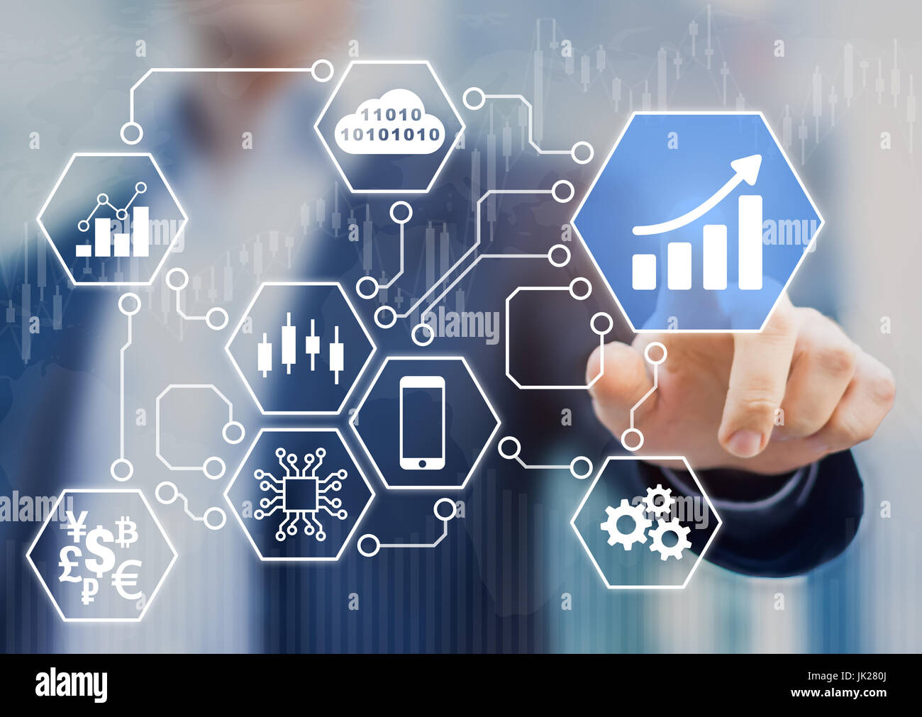 Fintech (financial technology) concept avec businessman touching business intelligence (BI) données analytiques Photo Stock