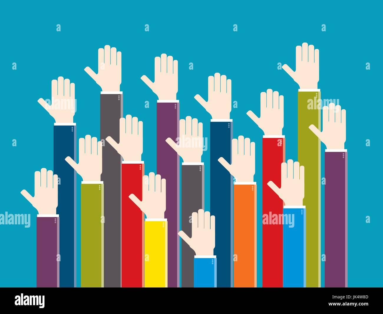 Les mains levées en signe de vote. Concept de réunion et d'opinion, de bénévolat, de collaboration, de voter et Illustration de Vecteur