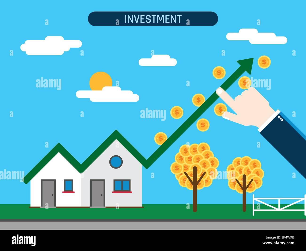 Investissement immobilier. Chambre avec courbe et pièces, main montrant le succès de l'investissement. Photo Stock