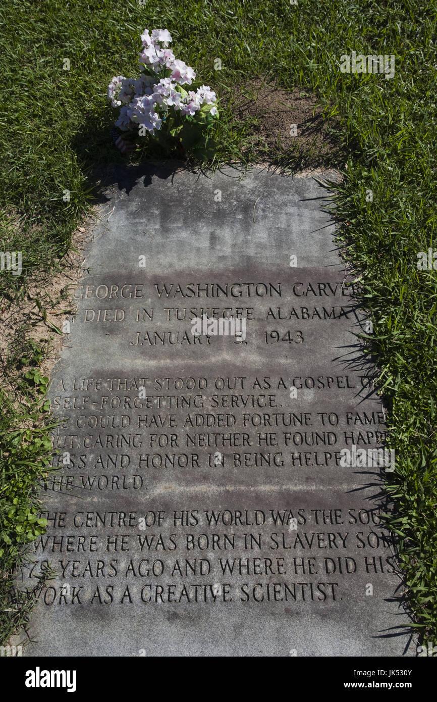 USA, Ohio, Tuskeegee Tuskeegee, Lieu historique national de l'Institut, l'Université d'origine afro-américaine majeure fondée par Booker T. Washington, tombe de George Washington Carver, scientifique Banque D'Images
