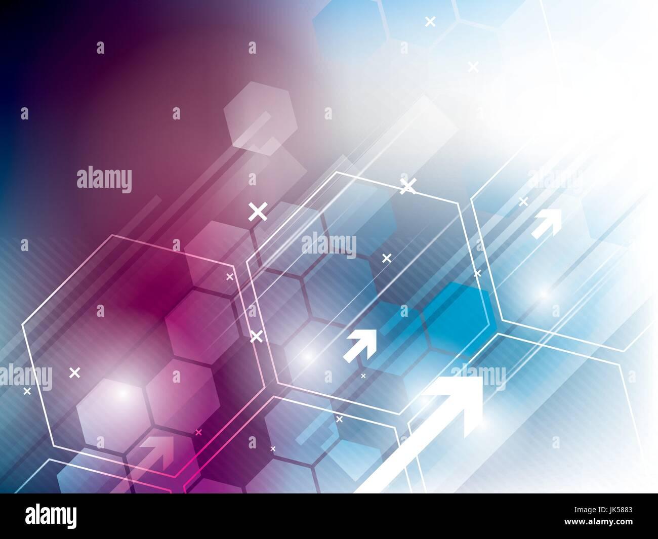 Résumé arrière-plan technique avec hexagones Photo Stock