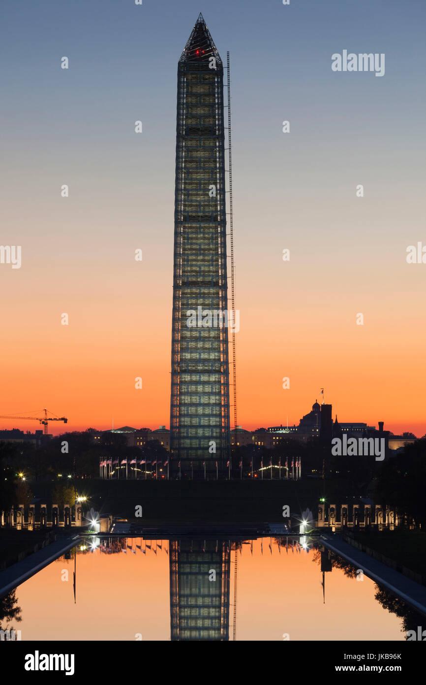 USA, Washington DC, Washington Monument, Dawn Banque D'Images