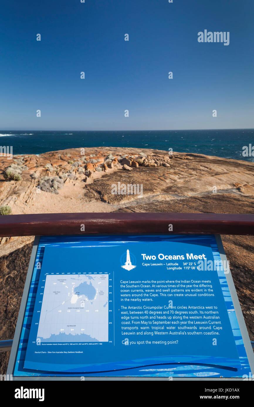 L'Australie, l'ouest de l'Australie, le sud-ouest, le Cap Leeuwin, point de rencontre entre le Sud et Photo Stock