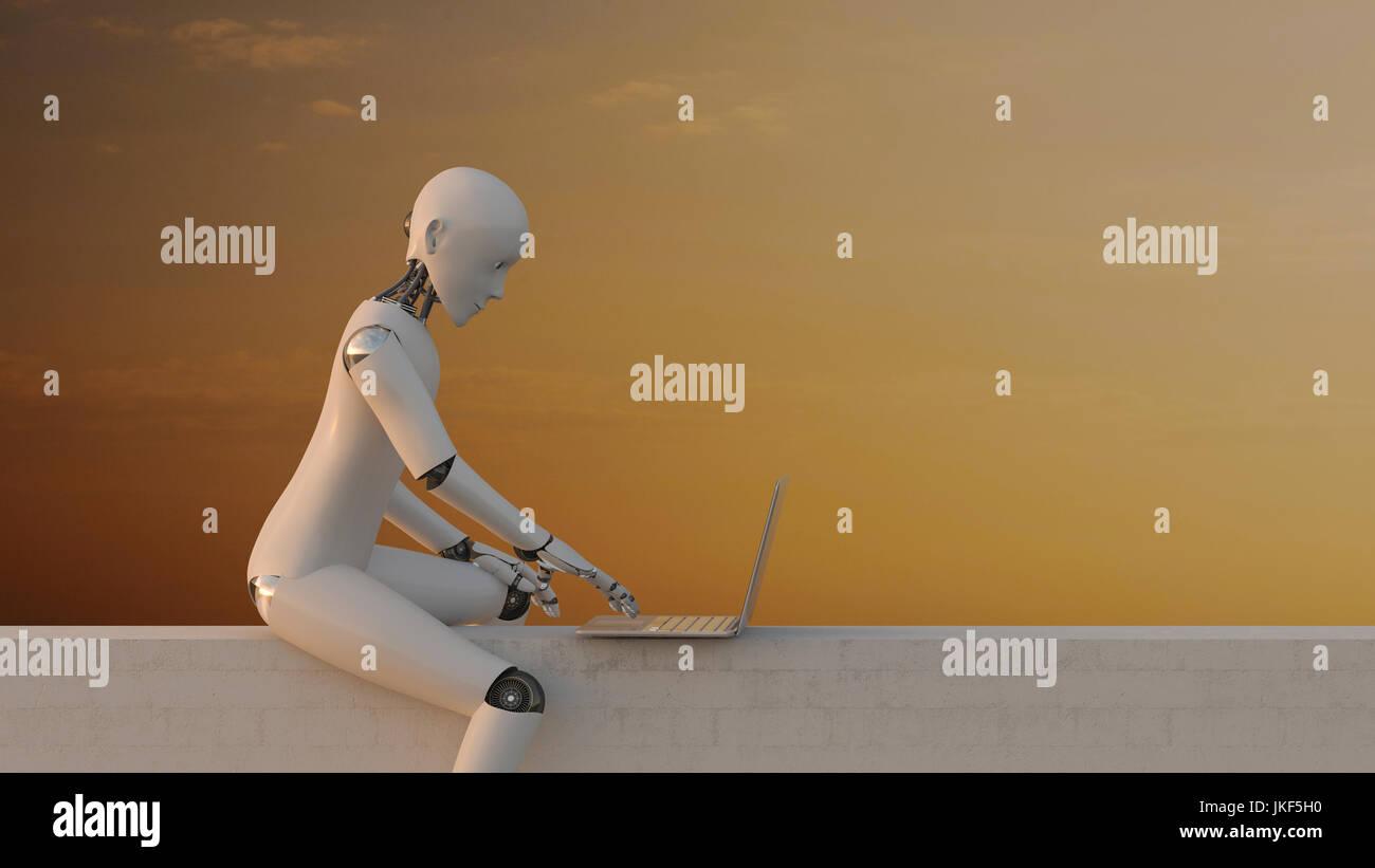Assis sur le mur à l'aide du robot, rendu 3D portable Photo Stock