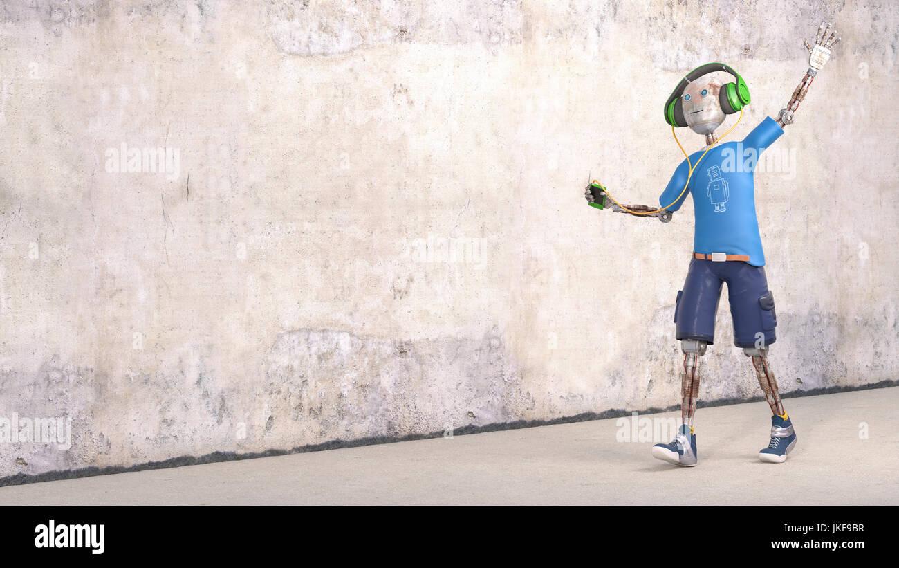 Robot d'écouter de la musique avec des écouteurs, 3D Rendering Photo Stock