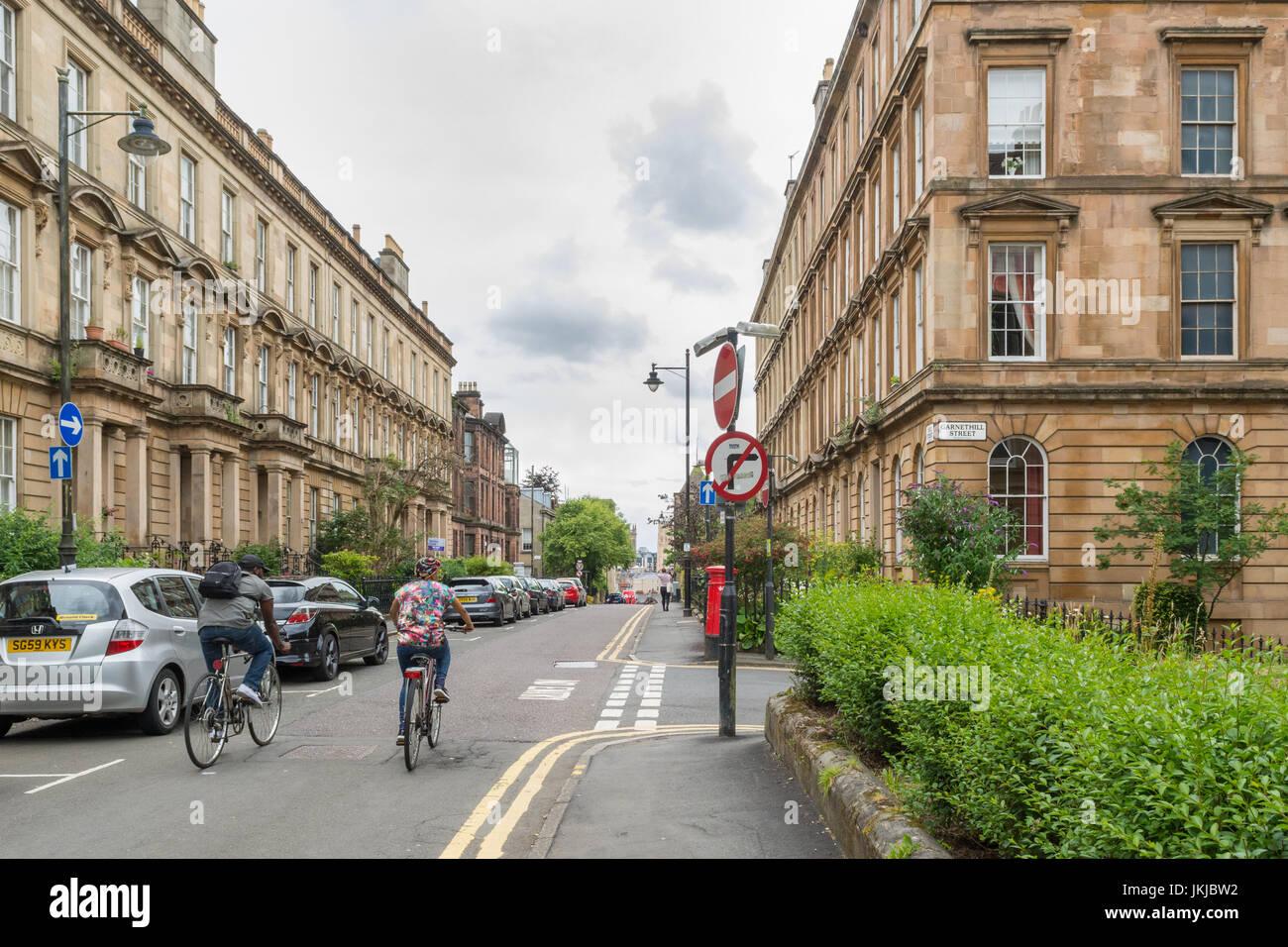Garnethill - un quartier résidentiel du centre-ville de Glasgow, Écosse, Royaume-Uni Photo Stock