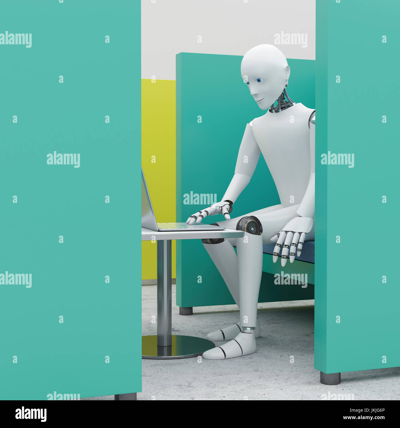 Robot using laptop in office cubicle, 3D Rendering Photo Stock