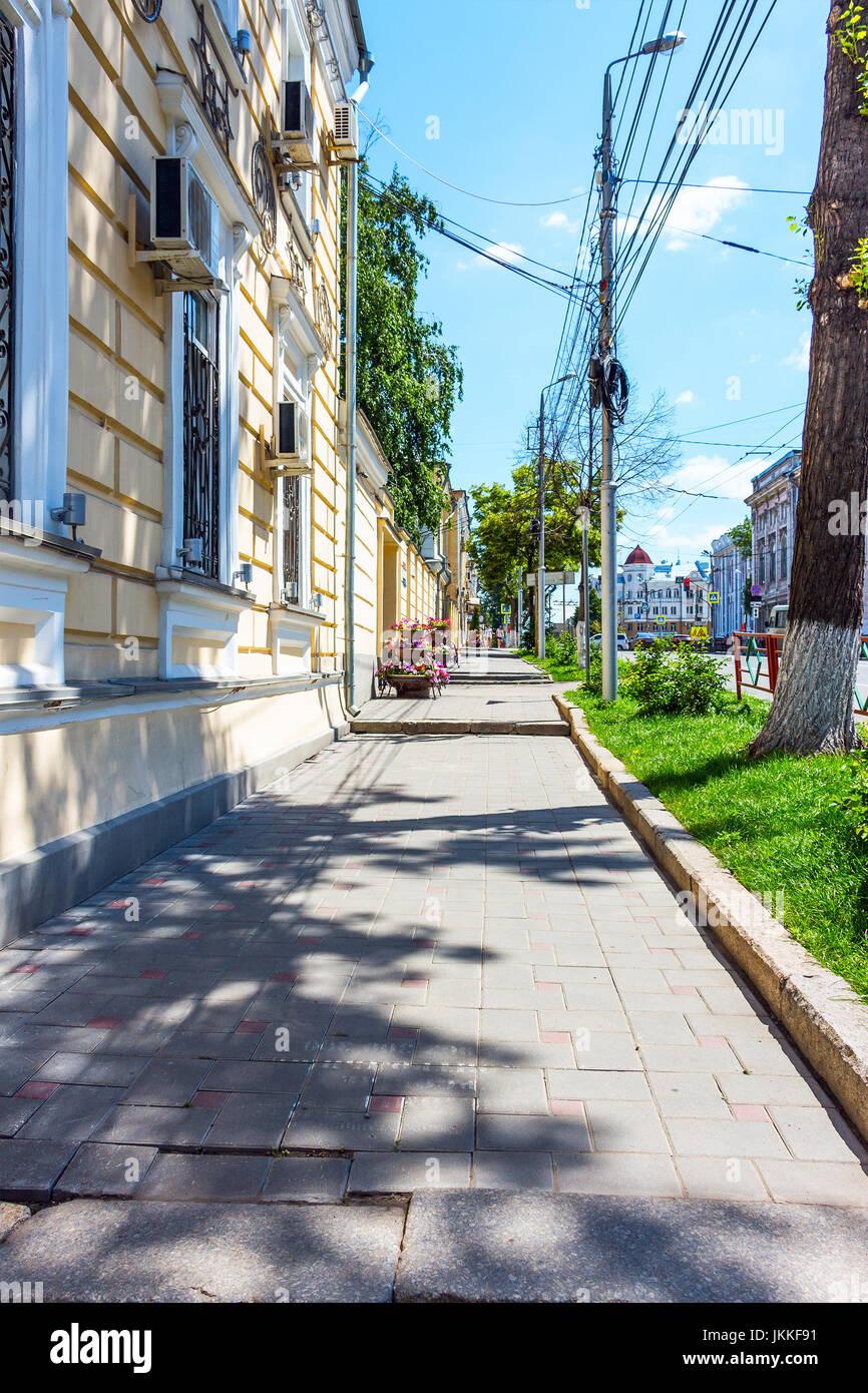 Vue de la ville trottoir Banque D'Images