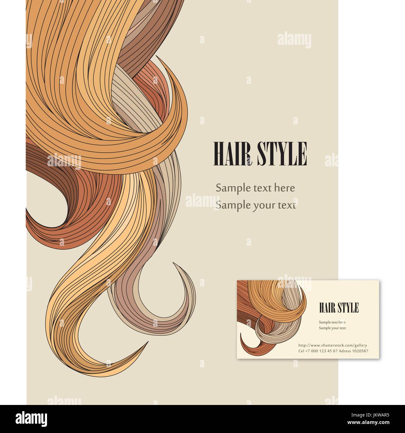 Arriere Plan De Modele Cheveux Set Affiche Et Carte Visite Pour Les Instituts Beaute