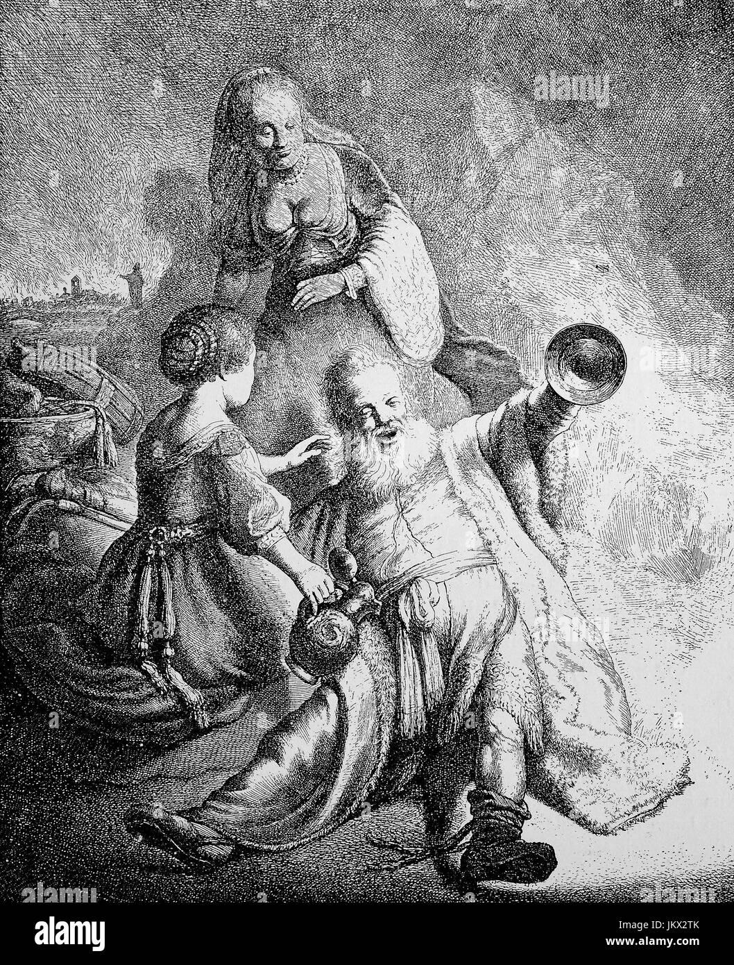Amélioration numérique: l'ivrogne, Loth, un homme ivre avec deux dames, gravure sur cuivre par J. G. van Vliet après l'original de Rembrandt, 1631, Lot était un patriarche dans le Livre biblique de la Genèse, de la publication de l'année 1882 Banque D'Images