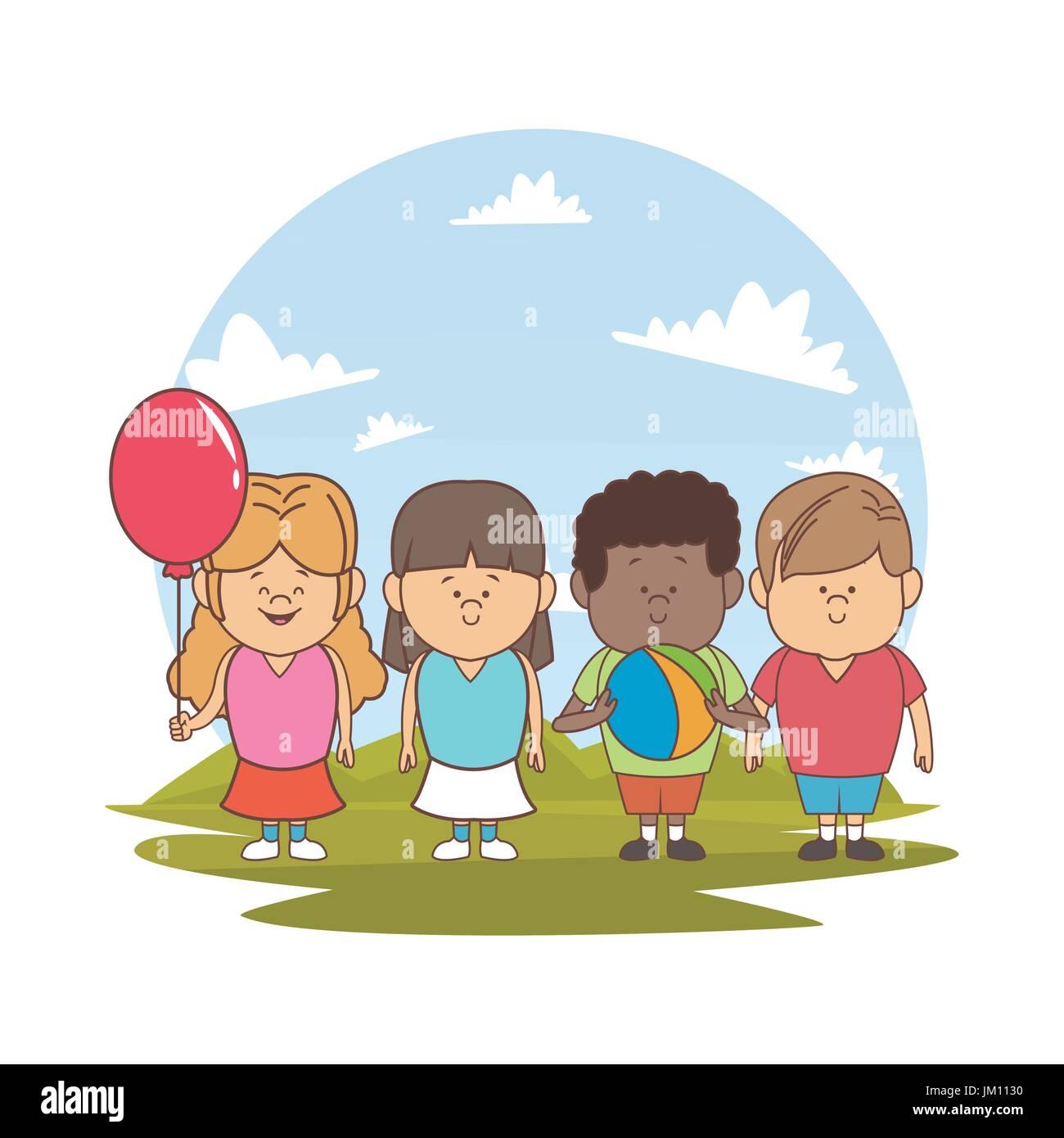 Fond blanc avec la couleur d'ossature paysage avec les enfants ensemble avec ballon et globe Illustration de Vecteur
