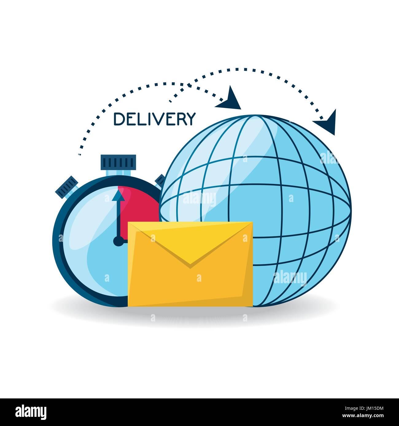 Livraison mondiale avec choronometer et e-mail Message Photo Stock