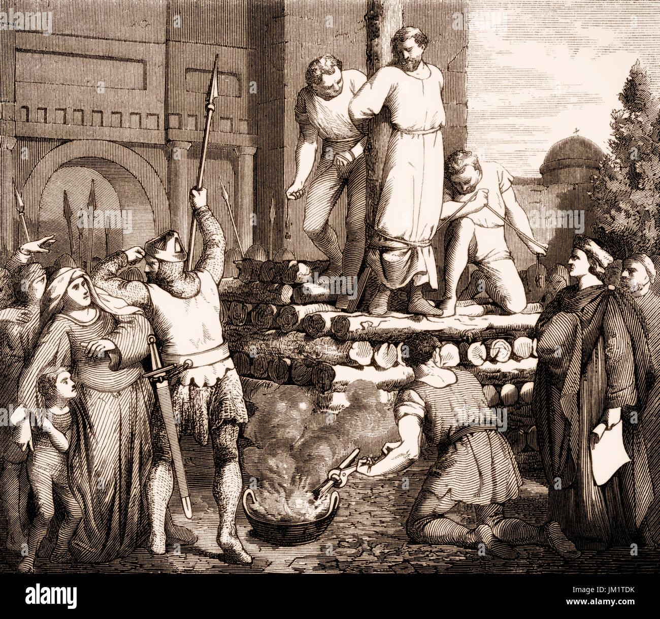 Arnold de Brescia au bûcher de la part des gardes pontificaux, Juin 1155 Photo Stock