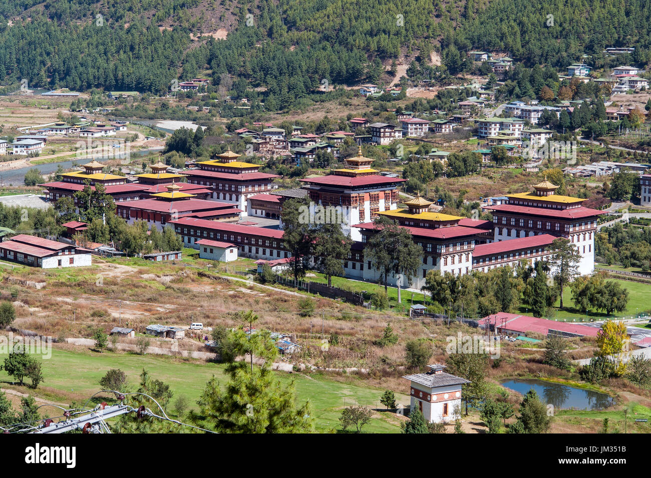 Palais du Roi à Thimphu, Bhoutan - Photo Stock