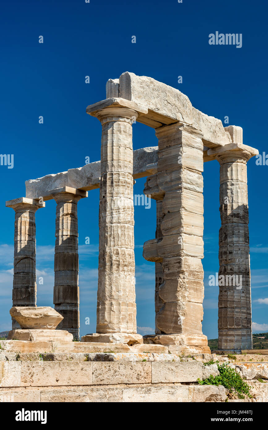 Temple de Poséidon, Cap Sounion, Attique, Grèce Banque D'Images