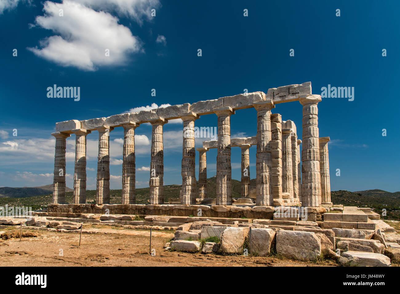 Temple de Poséidon, Cap Sounion, Attique, Grèce Photo Stock